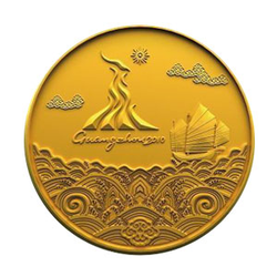 "<p>The gold, silver and bronze medals are themed Haishang Silu, or ""Maritime Silk Road"".<br /><br />The face of the medals features the Emblem of the Olympic Council of Asian and Guangzhou's kapok flower which are fused together as an organic whole. The two are circled by a dancing dragon and a dancing eagle, vividly carved above the five Olympic rings.<br /><br />The back of the medals features the Guangzhou 2010 Emblem and a boat on the sea. Guangzhou, the starting place of Maritime Silk Road, has been an important commercial centre and port in South China and a window linking China and the world since ancient times. More recently, it is known as the forefront of China's reform and opening up. The whole picture showcases Guangzhou's time-honoured history and pioneer spirit. The design of the back highlights traditional Chinese culture with waves in auspicious pattern.</p>"
