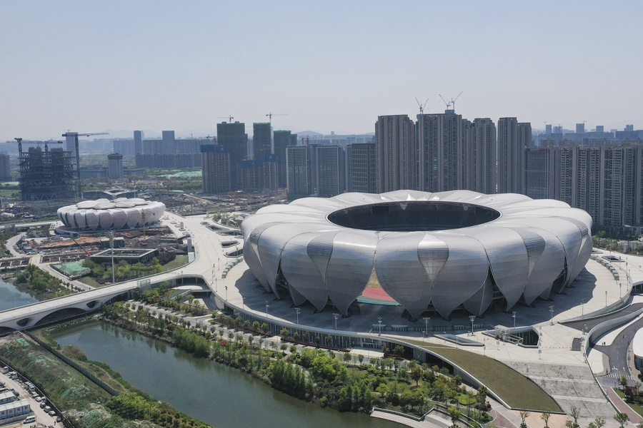 A bird's eye view of the main stadium for the Hangzhou 2022 Asian Games taken on April 8, 2020. © Xinhua/Huang Zongzhi