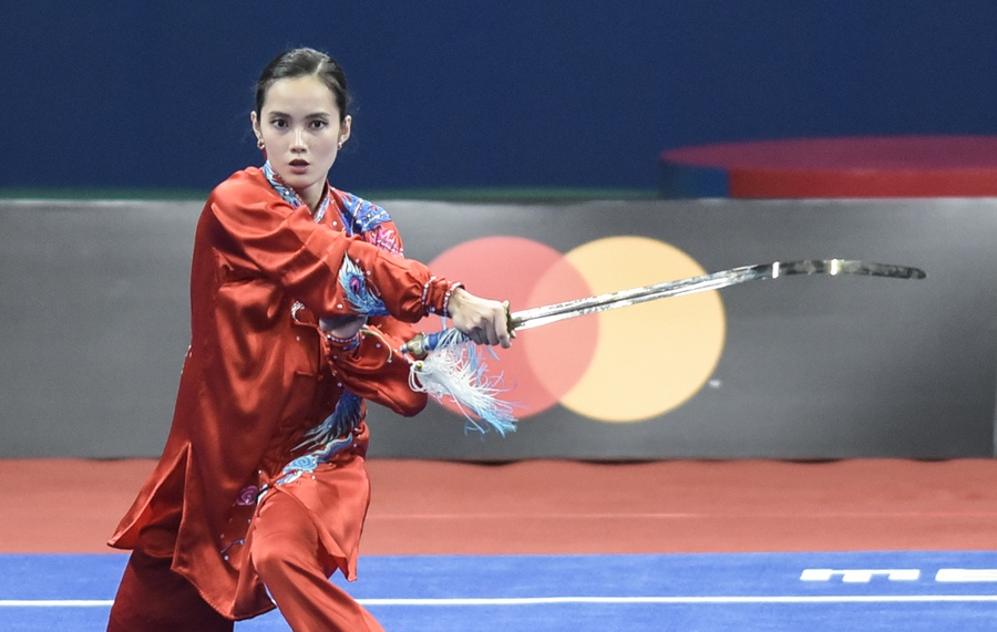 Philippines' Agatha Wong performs during the 30th SEA Games 2019 wushu tournament. © Inquirer/Sherwin Vardeleon