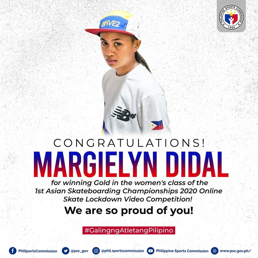 The Philippine Sports Commission congratulates Margie Didal for her most recent gold medal. © PSC Facebook