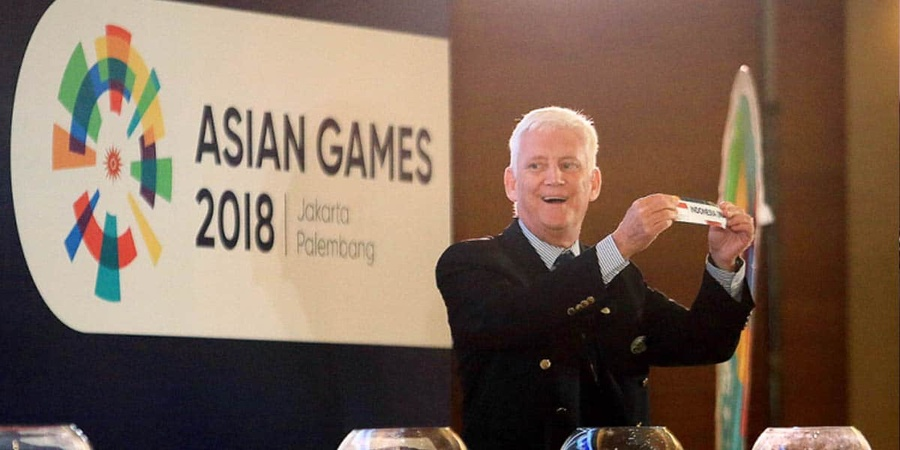 Ross Mitchell at the team sports draw for the Asian Games 2018. © Asiarugby.com