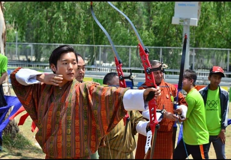 HRH Prince Jigyel shows his archery prowess.
