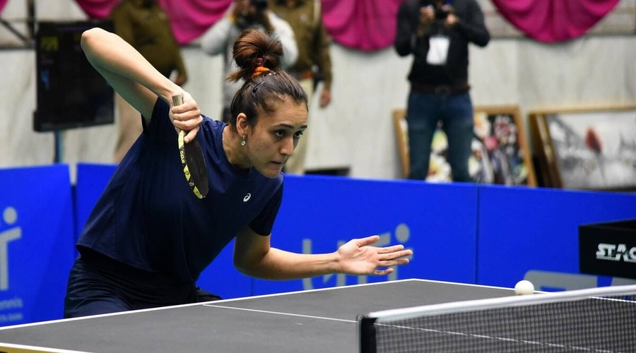 Manika Batra in action on her way to winning the women's singles title at the 82nd Senior National Table Tennis Championship. © Indian Express