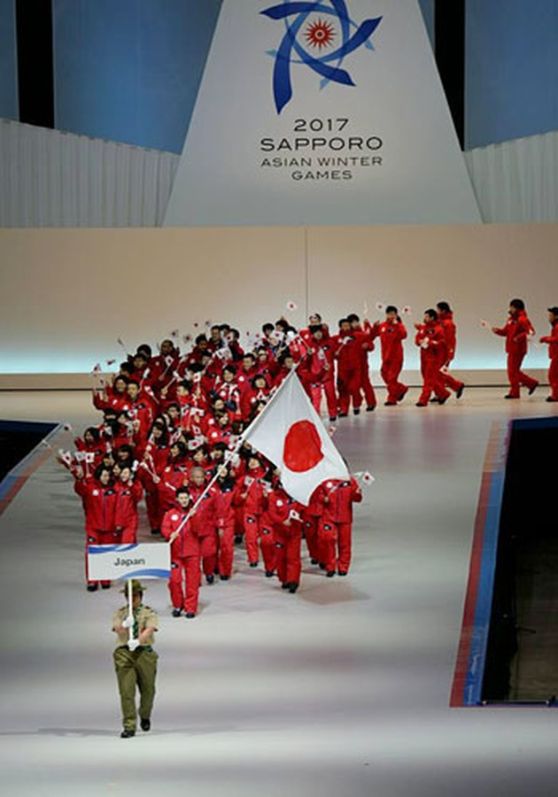 The Japanese delegation enters Sapporo Dome for the opening ceremony of the OCA's 8th Asian Winter Games in 2017. Sapporo will bid for the 2030   Winter Olympics. © OCA