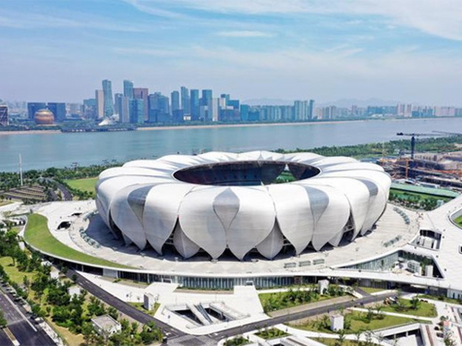 An aerial view of the Hangzhou Olympic and International Expo Centre Main Stadium, which will host the 2021 FIFA Club World Cup and the 2022 Hangzhou Asian Games. © zj.zjol.com.cn