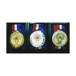<p>Medals of the 23rd Southeast Asian Games. (L-R)Gold, Silver, Bronze (Courtesy PhilSOC).</p>