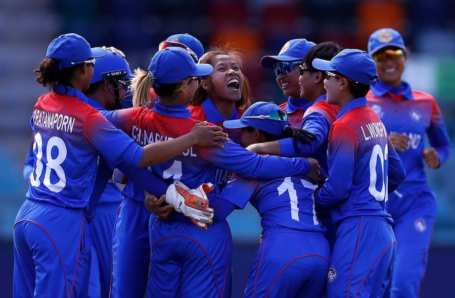 Thai players celebrate. © ICC